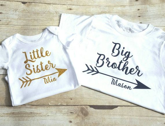 Personalized big brother little sister shirts sibling shirt