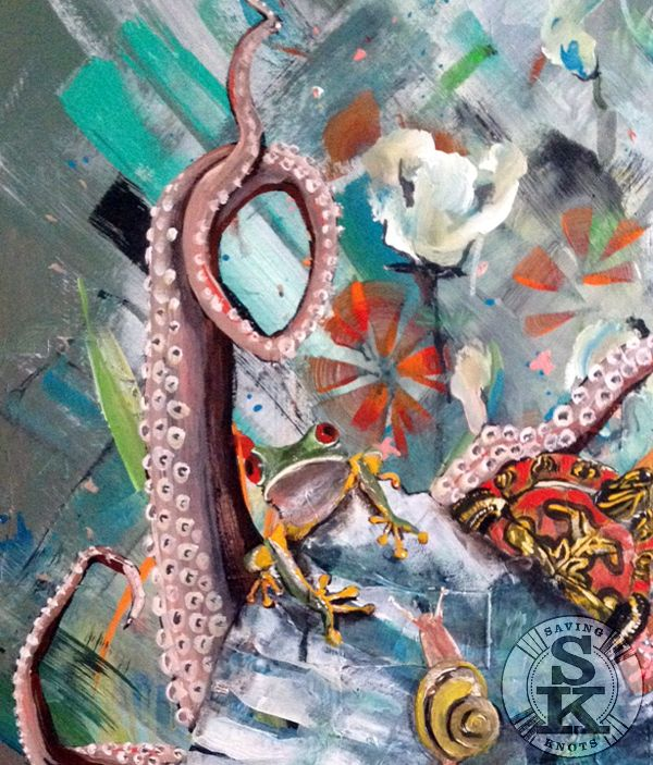 occupied - painting by brina schenk - fixing the octopus