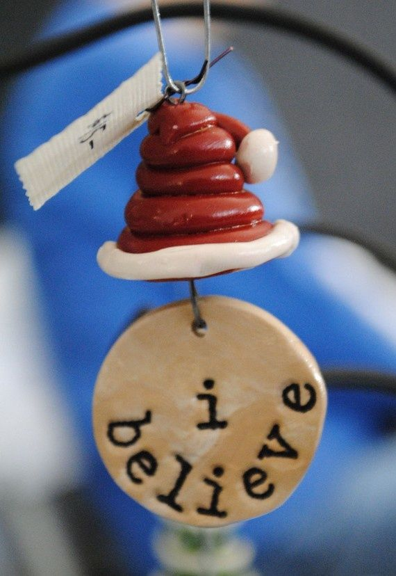 Polymer clay Christmas ornament. Mum - maybe attach the Polar express bells too !!!