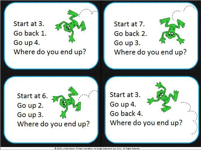 52 addition and subtraction card for moving up and moving back on the number line. Includes individual number lines and also a jumbo size line for your students to do some real hopping!   $    https://www.teacherspayteachers.com/Product/Two-Step-Computation-on-the-Number-Line-Hip-Hoppin-Up-and-Back-777224