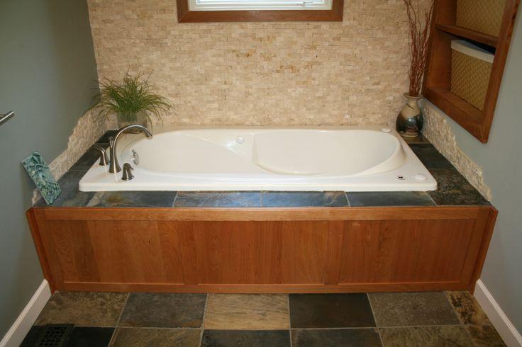 28 best slate images on pinterest slate tiles bathroom for Wood tile tub surround