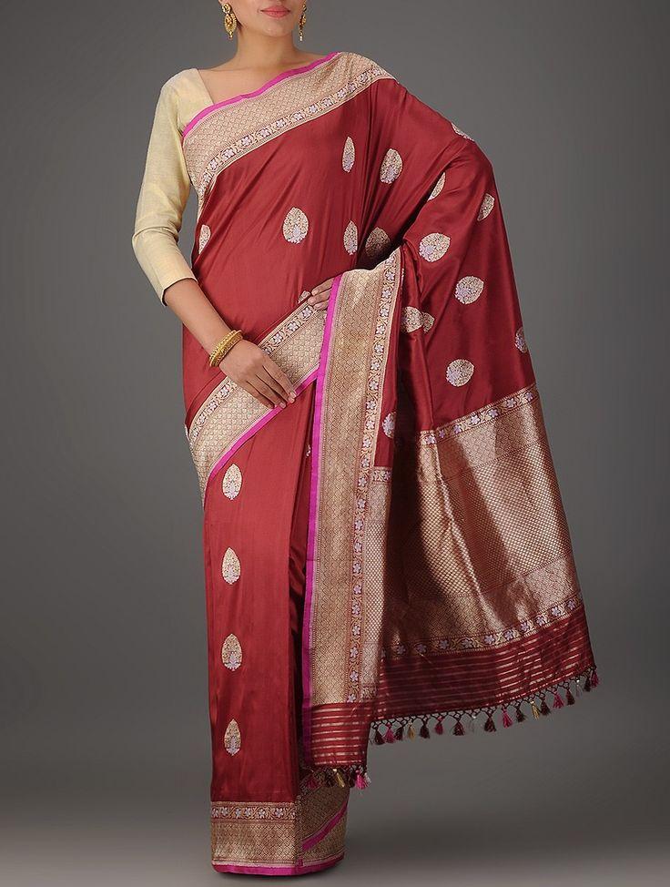 Maroon Benarasi Katan Silk Saree with Kadhwa Buti on Jaypore.com