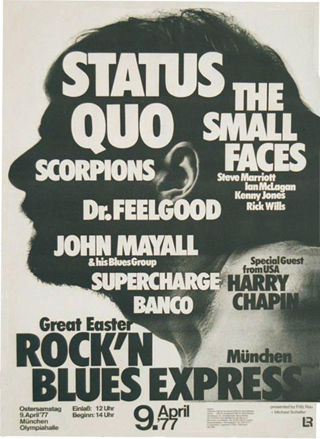 Status Quo 1977 Munchen Konzert Poster Retrowerbung Plakat