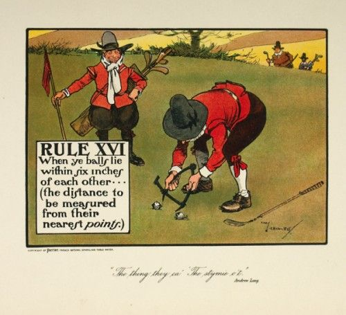 """CROMBIE, Charles. Rule XVI. When ye balls lie within six inches of each other...(the distance to be measured from their nearest points.)  An original colour lithograph for """"The Rules of Golf"""", published as an advertisement by Perrier Water, c.1905. #print"""