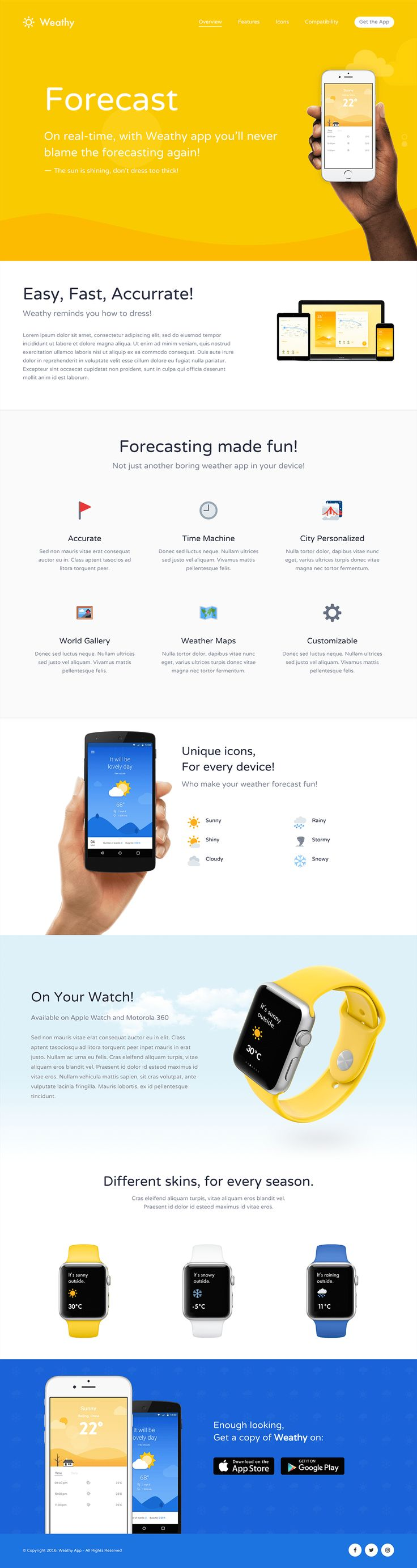 'Kalium' is a robust multi-purpose WordPress theme with a slick Landing Page layout option. This demo featured here is for a weather app but could easily be adapted to showcase any product, website or application. The design is refreshing for a template with good whitespace, crisp devices, clean fonts and nice touch with the moving cloud background. You also know you're going to be looked after by the Laborator theme team as 'Kalium' has a 5 star rating on ThemeForest!