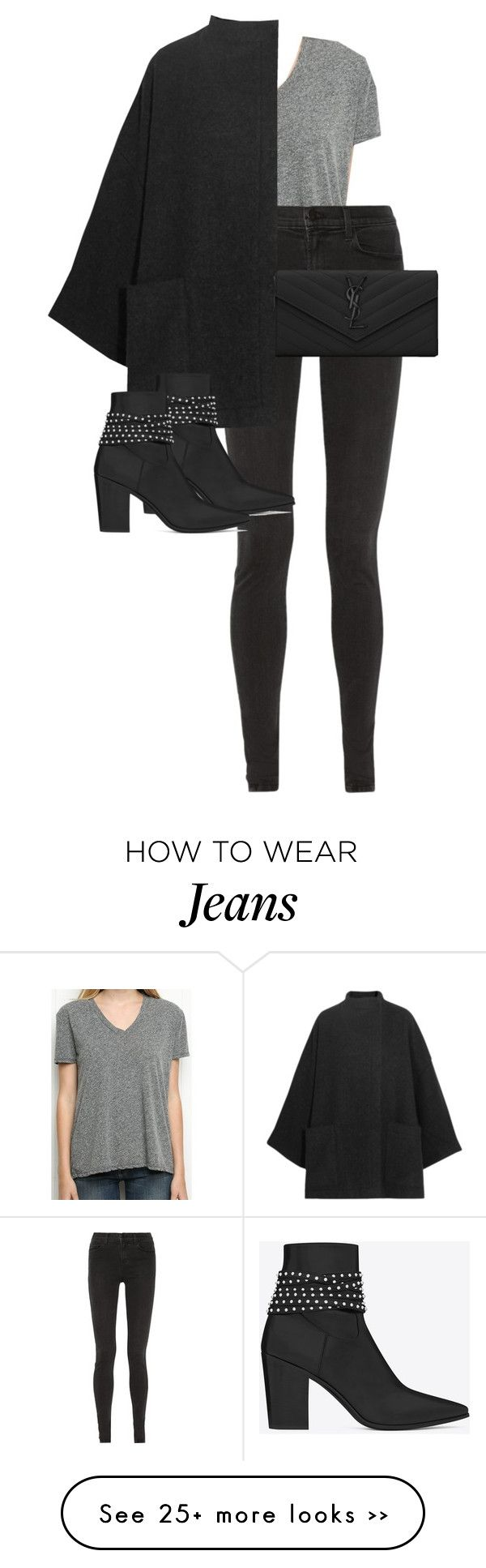 """""""Untitled #9337"""" by alexsrogers on Polyvore featuring J Brand, Acne Studios and Yves Saint Laurent"""