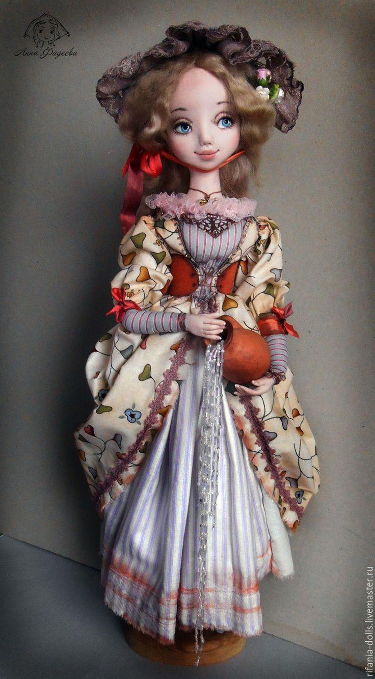 Купить Марселина - бледно-сиреневый, девушка, кувшин, оригинальный подарок, коллекционная кукла, авторская работа