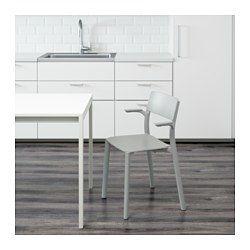 IKEA - JANINGE, Chaise à accoudoirs, Les chaises peuvent être empilées pour libérer de l
