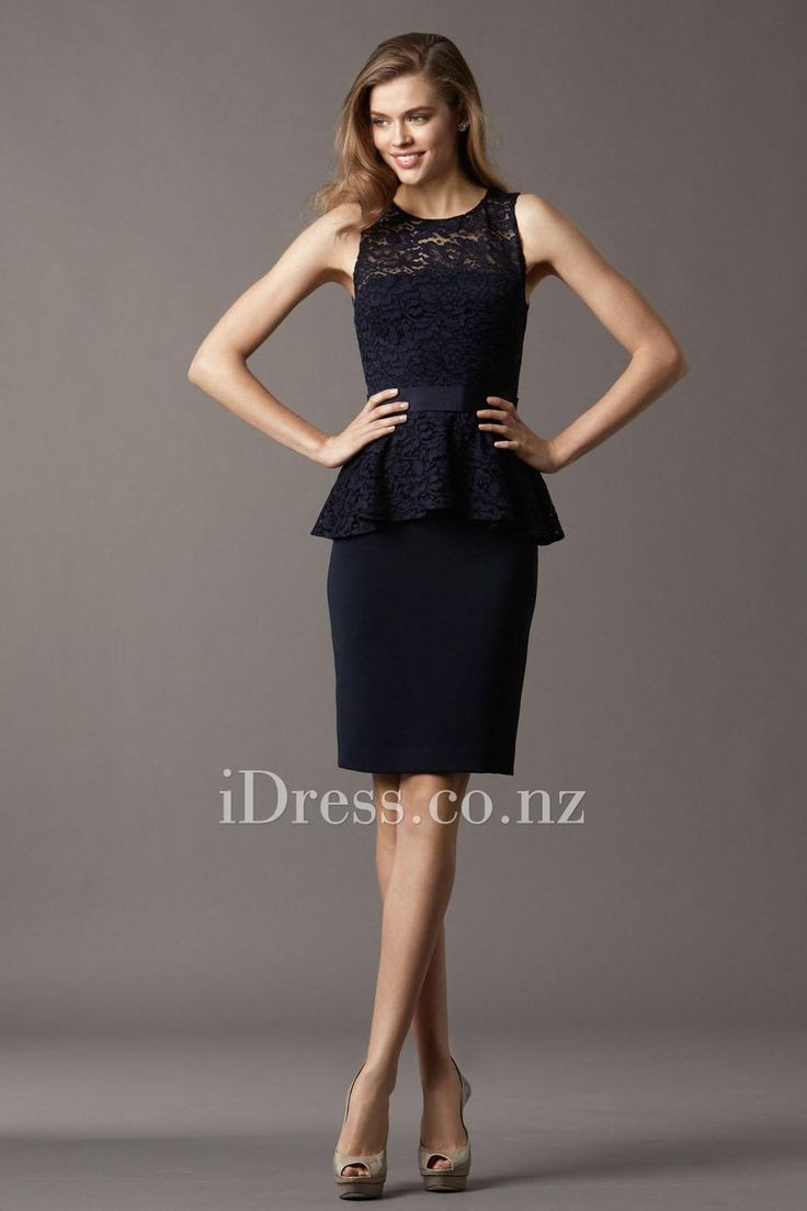 sleeveless short bridesmaid dress with lace peplum and pencil skirt from idress.co.nz