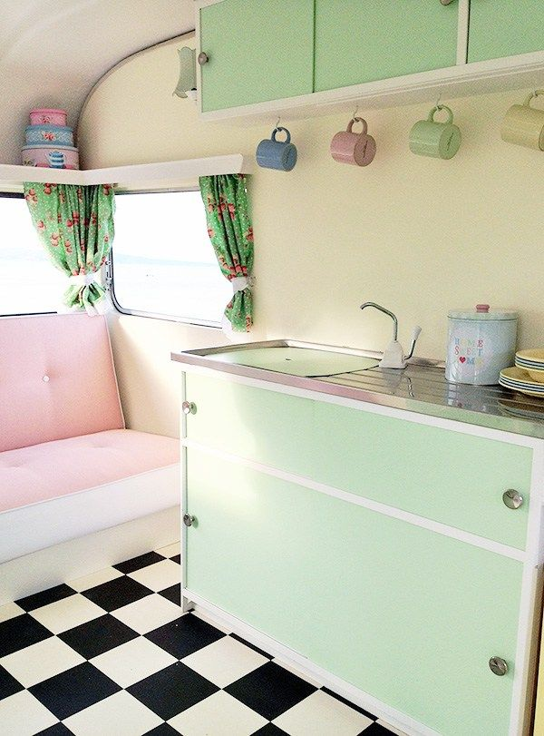 mint cupboards in caravan