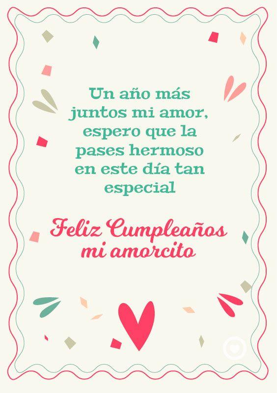 Bonita Tarjeta De Feliz Cumpleanos Mi Amorcito Amor Pinterest