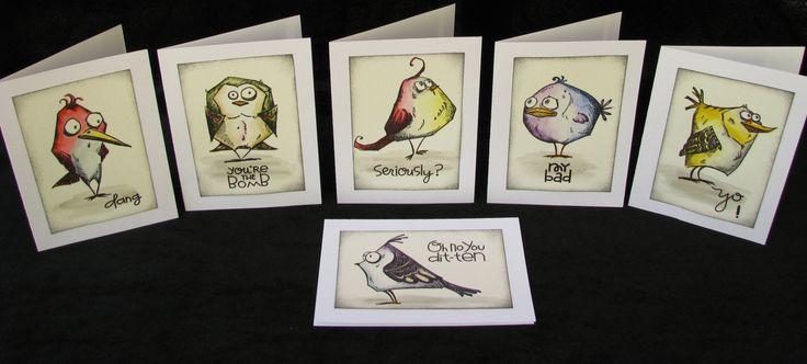 Bird Crazy Note Cards Tim Holtz Bird Crazy Cartoon by OldRaven