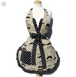 Handmade Mustache Lover Pinup Black Polka Dot Apron. Gotta have it!!!