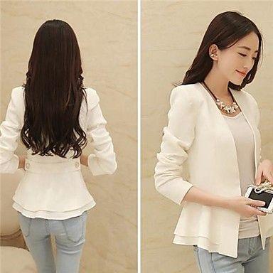 Women's Cute Solid Green White Blazer, Collarless Long Sleeve With Peplum 2015 – $17.99