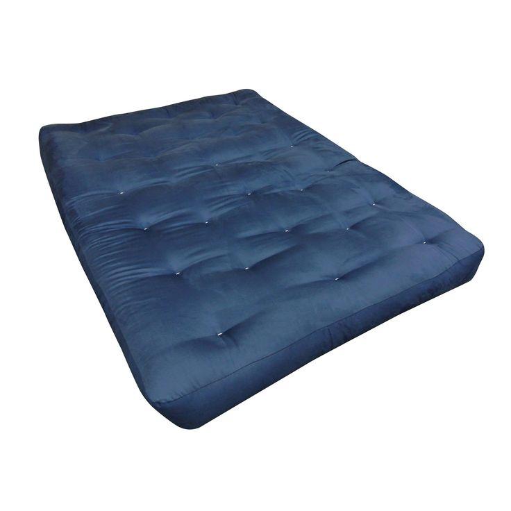 Blue Microfiber/Wool Wrap 8-inch Futon Mattress (Blue - Polyester/Foam/Cotton - Foam - Twin - 8 Inch)