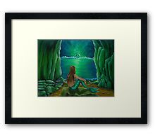 Framed, art print, mermaid,sitting,painting,cave,rocky,coastal,fantasy,scene,seascape,nude,feminine,aquatic,life,creatured,atmospheric,tail,fins,nightscape,moonlight,mythological,magical,big,fish,vivid,green,beautiful,cool,contemporary,realistic,figurative,fine,wall,art,images,home,office,decor,artwork,modern,items,ideas,for sale,redbubble