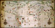 L'Âge d'or des cartes marines.  Planisphère portugais Attribué à Pedro de Lemos, vers 1590. Manuscrit enluminé sur vélin BnF, département des Cartes et Plans, CPL GE SH ARCH n° 38 (RES)                                                                                                                                                                                 Plus