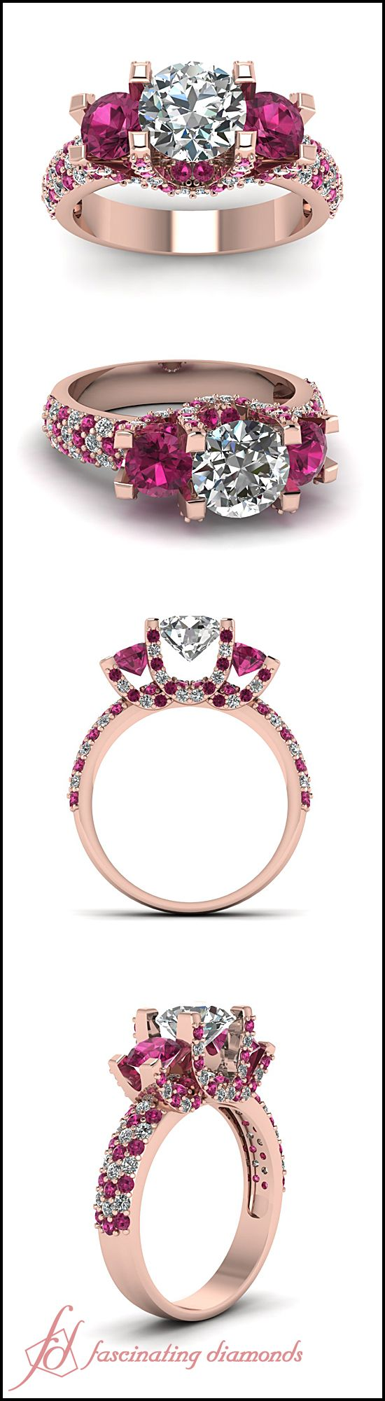 【Jewelry in My Box】Enigma Sparkle Ring || Round Cut Diamond Side Stone Ring With Pink Sapphire In 14K Rose Gold