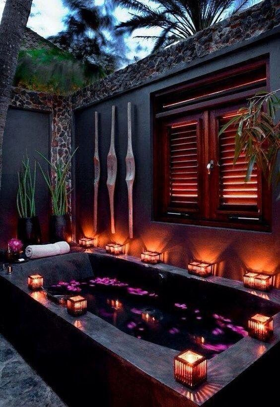 Gorgeous spa tub  Boho                                                                                                                                                                                 More