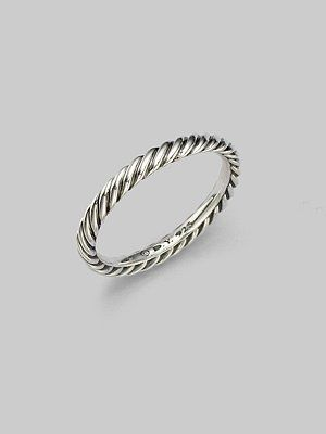 David Yurman Sterling Silver Cable Stackable Ring $125 -- Want!