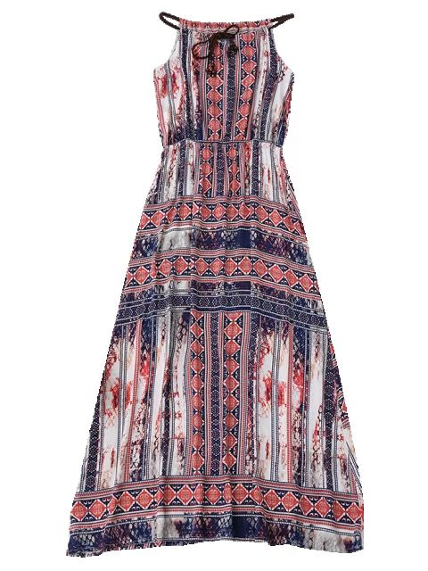 Beach Tribal Print Maxi Dress - COLORMIX XL