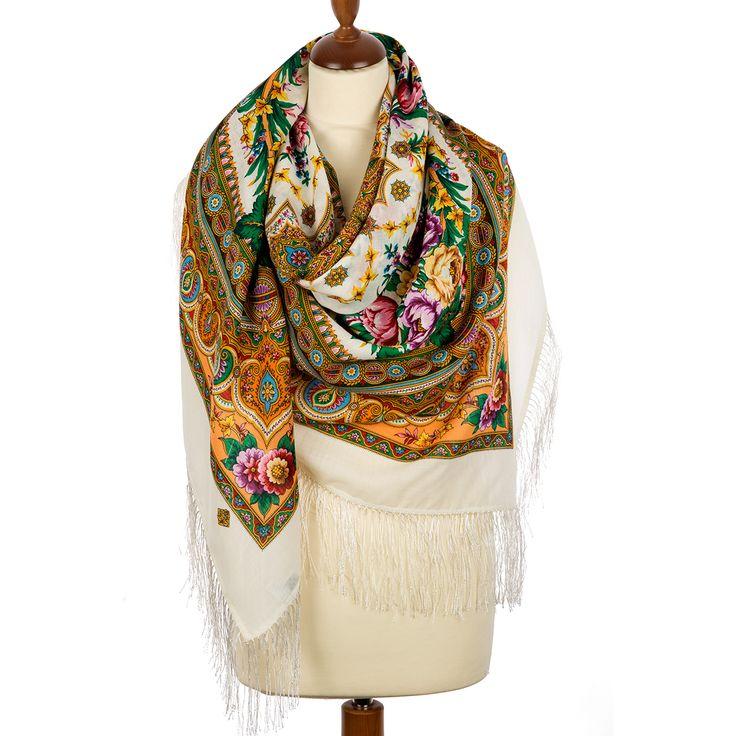Russian shawl Words of love 1688-1. Traditional Russian wool shawl, Pavlovo…