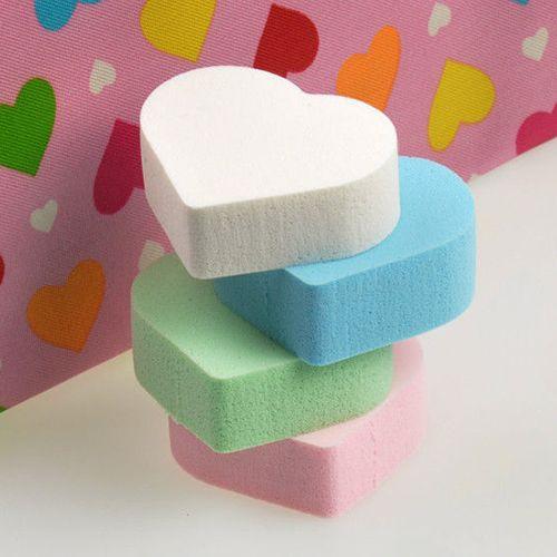 4 PCS coração diferentes cores de maquiagem esponja Blender Puff Flawless pó suave Beauty fundação Chic alishoppbrasil