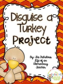 In this project, students will work with their family to disguise a turkey to prevent him/her from getting eaten for Thanksgiving! Once they return the disguised turkey, they will complete a writing assignment. I've done this activity with my students for years, and the students and parents LOVE it!