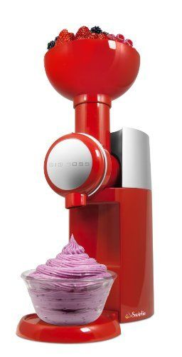 Turn your favorite fruit into the most delicious frozen soft serve dessert in seconds! It's quite simply to use, too…. just insert any frozen fruit and the Swirlio will do the rest!