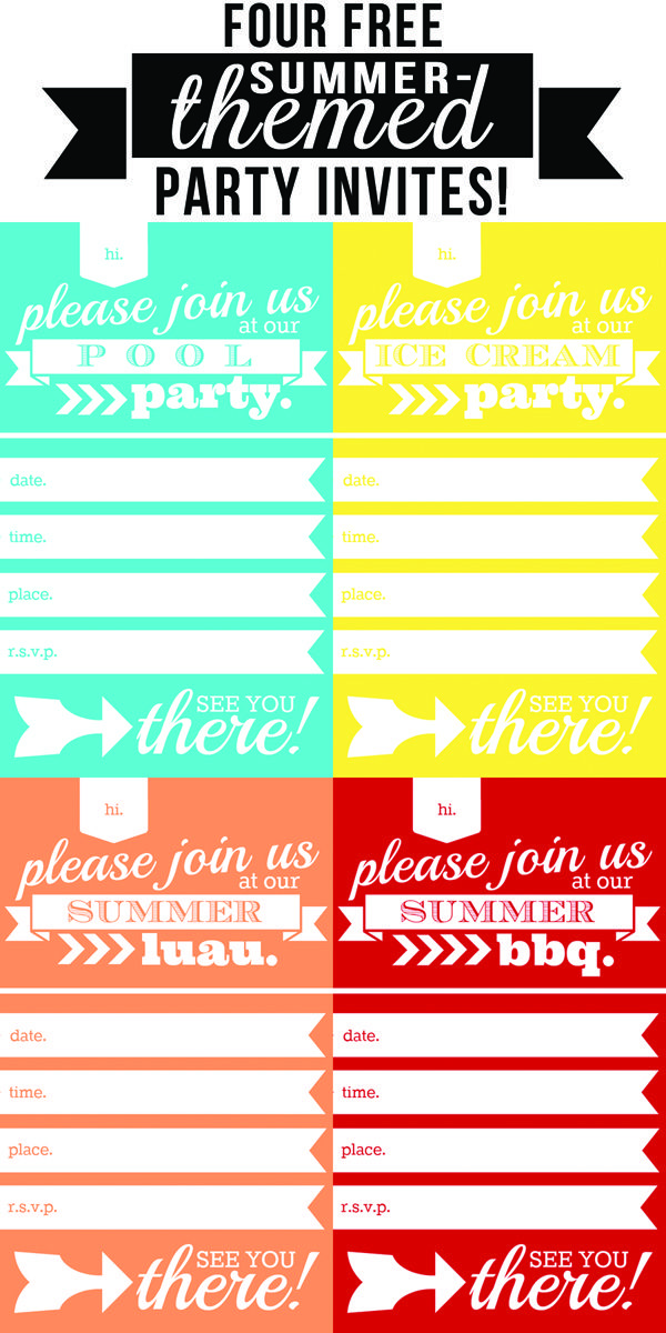 Four FREE summer-themed party invites   11 more adorable free summer printables!