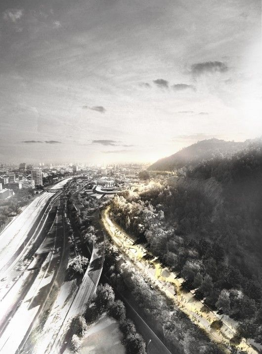 ELEMENTAL Proposes Pedestrian Path To Connect Districts of Santiago