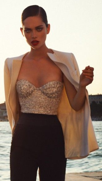 sequin corset with blazer