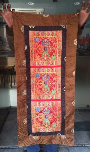 Tibetan-buddhism-silk-brocade-Red-double-dorje-table-cover-shrine-altar-runner