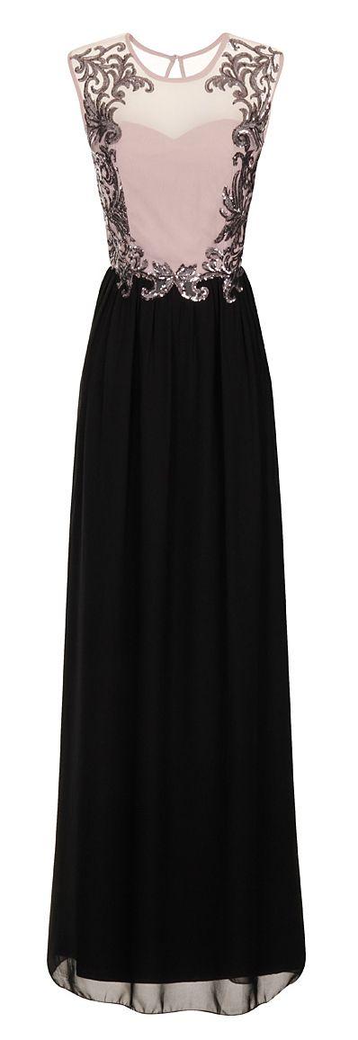 Black & Taupe Embellished Maxi Dress