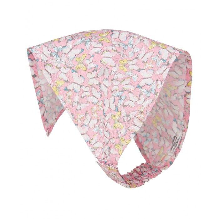 Бандана для девочки, расцветка: принт бабочек, цвет - розовый