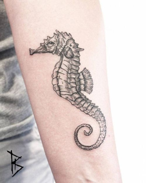 Engraving style seahorse tattoo on the left inner forearm....