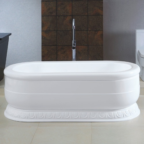 "67"" Lenci Freestanding Double Ended Acrylic Tub on Plinth"