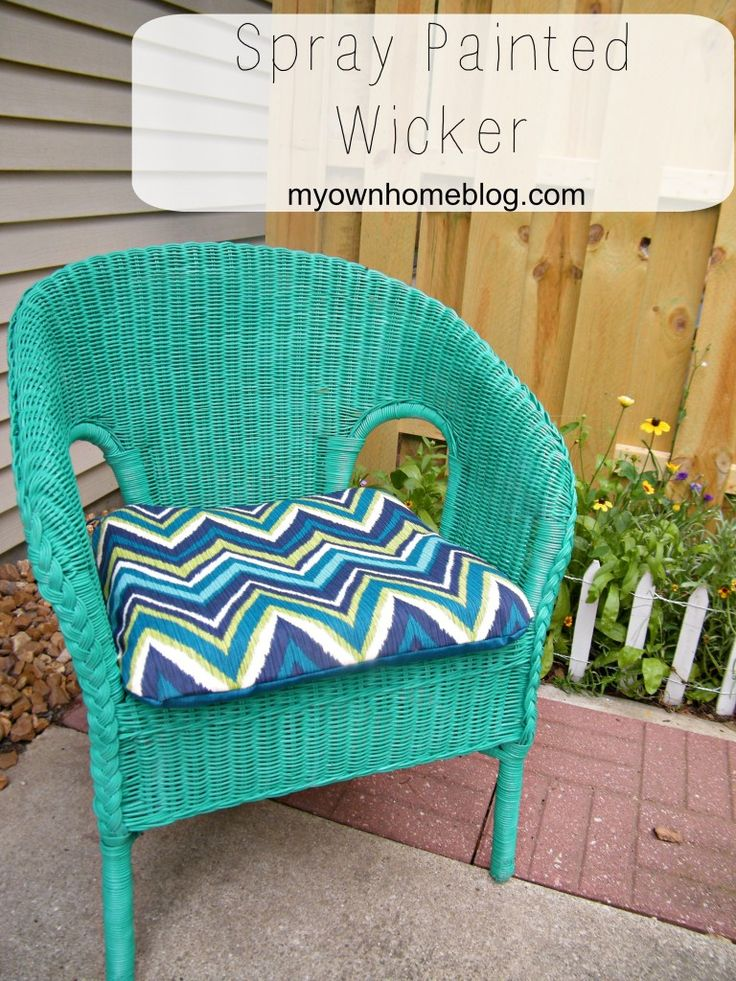 How To Paint Wicker a Bright & Happy Color using Valspar Spray Paint @ Myownhomeblog.com #wicker #painting