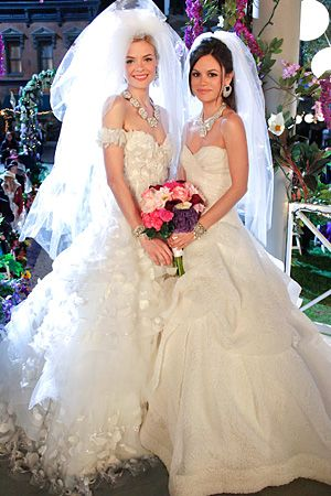 Two Southern Belle ball gowns by Monique Lhuillier in Heart of Dixie. See more wedding dress trends at http://www.hvmag.com/Hudson-Valley-Magazine/January-2012/Top-Wedding-Dress-and-Bridal-Gown-Trends-of-2012/ (Photo: Greg Gayne/The CW)