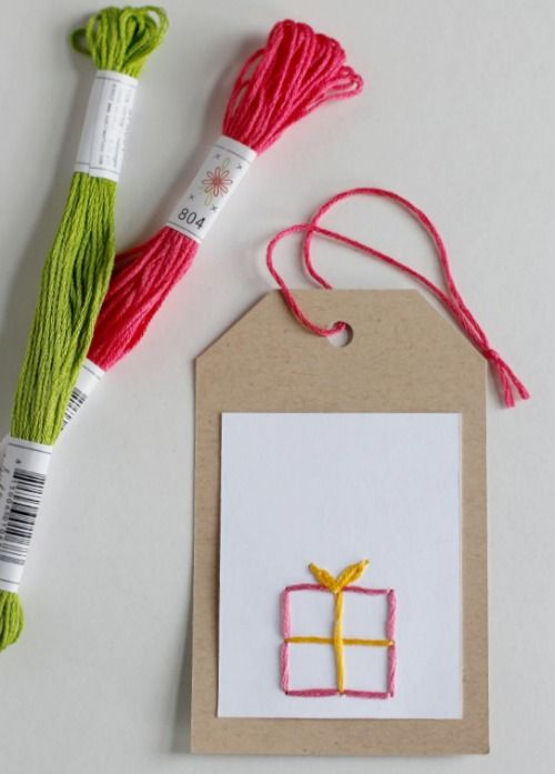 Hand Stitch Embroidery Gift Tags - Make and Takes
