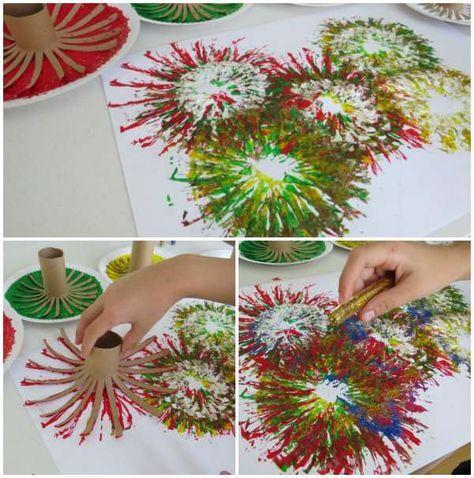 Peindre des feux d'artifice avec des rouleaux de papier toilette