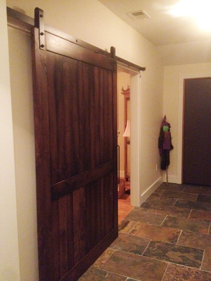 industrial barn door hardware with an alder wood barn door