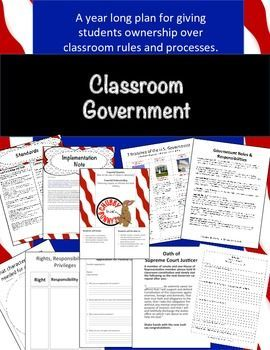 Classroom Government Kit Government can be a year long simulation. This kit arms you with the structures you need to set up a government in your own class. Start by having student write their own classroom constitution. Then have them vote on their leaders. Each student will act in some capacity within the government, either as Governor, Supreme Court Justice, Senator or member of the House of Representatives.