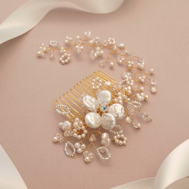Gold Vine Bridal Hair Comb - Pearl and Crystal Gold Wedding Headdress £130.00