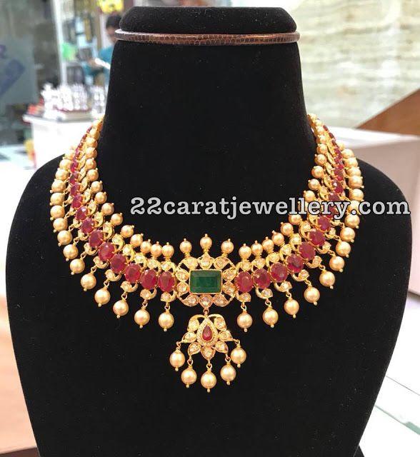 e56c5652459bb Latest jewellery designs by SRJ | Ruby Necklace jewellery | Jewelry ...