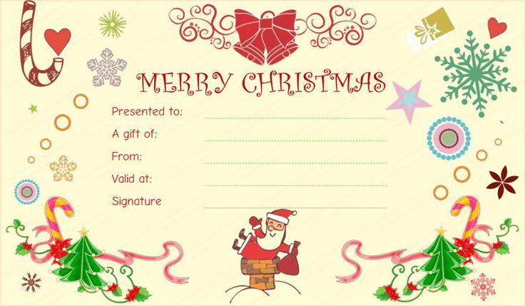 Wonderful Free Printable Christmas Gift Certificate Templates Part - 13: Christmas Gift Certificate Template   Beautiful Printable Gift Certificate  Templates   Pinterest   Christmas Gifts, Gift Certificates And Gifts