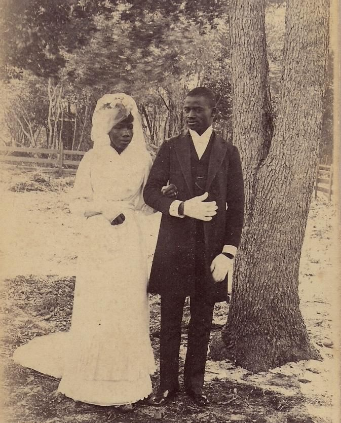 C1890 ID'D African American Man Bride New Smyrna FL Antique Cabinet Photo | eBay