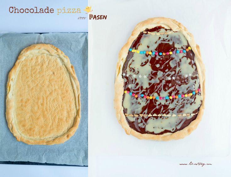 Chocolade pizza voor Pasen - Feestdagen - Deze chocolade pizza in de vorm van een ei is een super lekkernij voor de paasbrunch. is makkelijk om te maken en ziet er heel lekker uit. De combinatie pizza en chocolade is de ultieme presentatie voor deze Pasen. Je kunt het feestelijk maken op jou smaak. Deze chocolade pizza kun je versieren met verschillende confetti, chocolade stukjes enz. De kinderen zijn er dol op, en wij ook natuurlijk. Ik heb kant en klaar pizzadeeg, gebruikt maar je kunt…