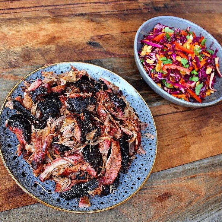 Char sui pulled pork sided with serious eats Asian slaw with ginger peanut dressing.