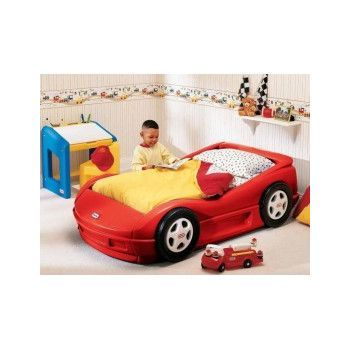 Pat pentru copii in forma de masina Little Tikes